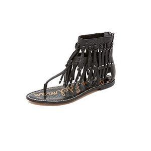 Sam Edelman Griffen Black Fringe Leather Sandals